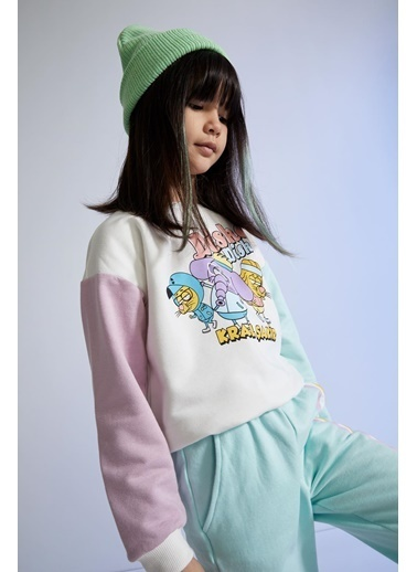 DeFacto Kız Çocuk Kral Şakir Lisanslı Renk Bloklu Sweatshirt Ekru